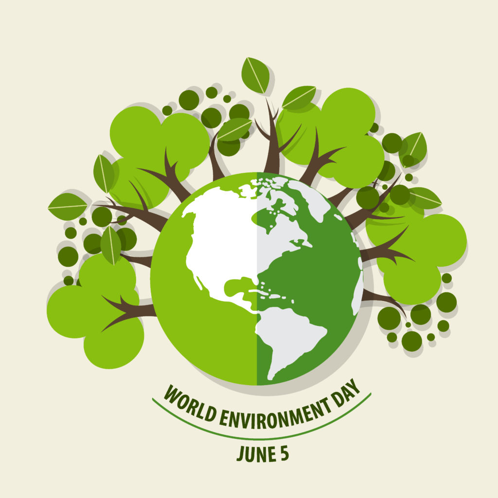 World environment day. Trees around the Earth.